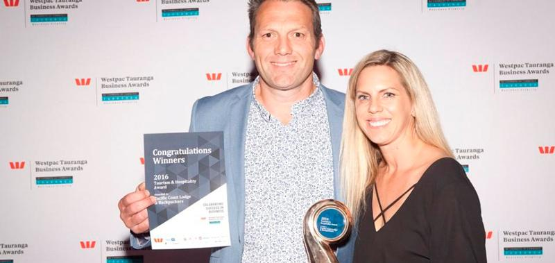 Mount Maunganui-based Pacific Coast Lodge & Backpackers took out the Tourism & Hospitality Award 2016 at the Westpac Tauranga Business
